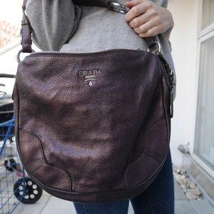 NWOT, Prada Metallic Eggplant Leather Shoulder Bag